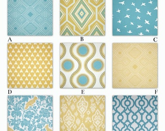 Aqua Blue and Light Yellow Custom Crib and Baby Bedding - Coastal Blue and Saffron Collection