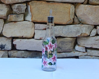 Hand Painted Glass Bottle with Red Flowers and Free Flowing Spout