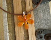 "Orange Vanda Orchid - Real Flower Necklace.  Orchid pendant on 16"" brown cord.  Hippie love, nature lover, plants, botany, gardener, flowers"