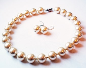 Enormous Faux Pearl Necklace with Matching Dangle Wire Earrings - Silvertone Spacer Beads - Magnetic Clasp