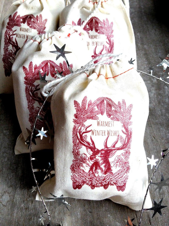 Holiday gift bag cotton reusable