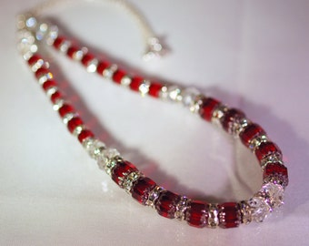 Cathedral Crystal & Sterling Silver Necklace  - Made to Order - Shown in Ruby with Swarovski Crystal