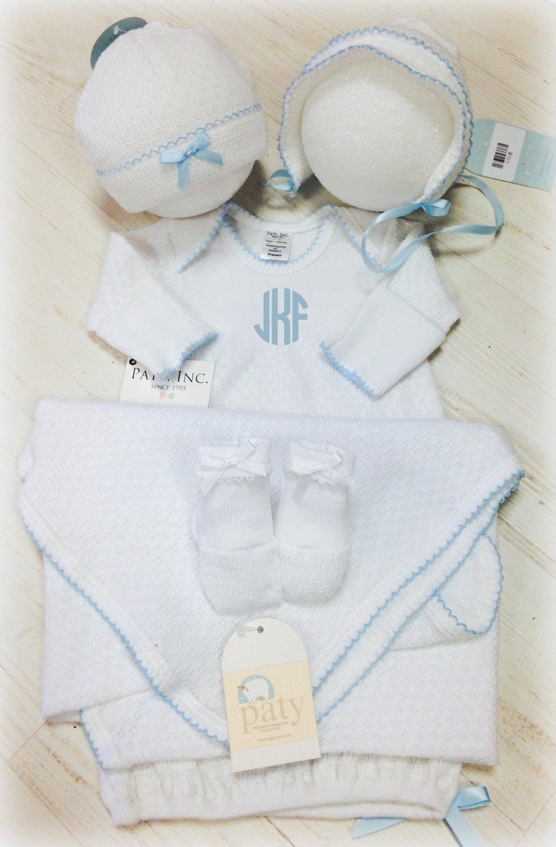 Shop designs by daffy embroidery rhinestones and monogrammed paty gown set new baby gift pink trim blue trim purple negle Image collections