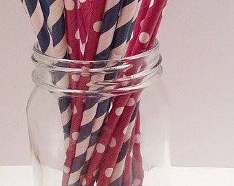 Paper Straws -  red with polka dot,blue and white strips,parties,cake pops, weddings,