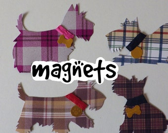 Stylish Handmade Tartan Scottie Dog Magnets- Pack of 5 - Custom Made to Order
