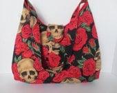 Skull and Roses - Handbag - Skull red rose Purse - Shoulder Bag with skulls - Designer fabric