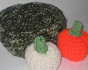 Halloween Thanksgiving Camo Camoflage Crocheted Basket of Pumpkins New