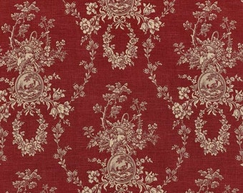 "Deep Red French Country Curtains, Cottage Decor, Red Toile Drapes, Shabby Chic, Red Window Curtains, Rod-Pocket, One Pair 50""W"