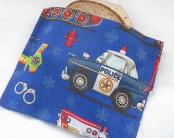 Reusable Sandwich Bag Snack Bag Eco Friendly Lunch Kit Rescue Vehicle Themed Sandwich or Snack Bag Back to School Ready to Ship