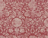 Linen French General Cotton Linen Blend Fabric 1/2 Yard Joyeux Noel in Rouge Pearl