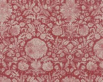 Linen French General Cotton Linen Blend Fabric 1/2 Yard Joyeux Noel in Rouge Pearl