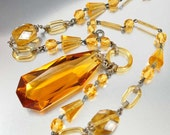 Czech Art Deco Necklace, Mirror Czech Glass Beads, Topaz Pendant, Glass Ring, Vintage 1920s Art Deco Jewelry Antique Jewelry