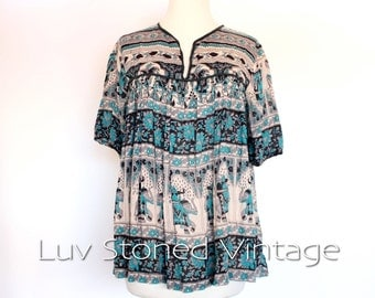 80s Vintage Indian Classic Imports Cotton Elephant Gypsy Gauze Festival Boho Hippie Blouse Top Shirt | XS - SM | 1051.7.30.15