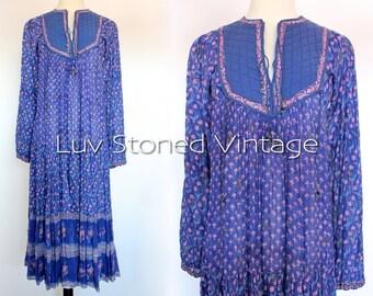 Vintage 70s Indian Ethnic Cotton Boho Hippie India Gypsy Festival Tent Midi Maxi Dress | XS - Small | 1067.8.1.15