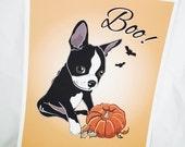 Halloween Boston Terrier - 8x10 Eco-friendly Print