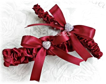Apple red bridal leg garter set, deep red wedding or prom garters garter belt set.