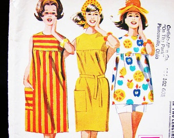1960s Beach Dress Pattern Misses size 12 Womens Shift Dress with Shorts Easy to Sew Vintage Sewing Pattern