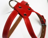 Cool  Leather Dog Harness RED