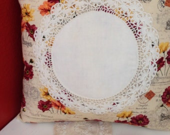 Shabby Chic Doily Throw Pillow Poppies in Paris