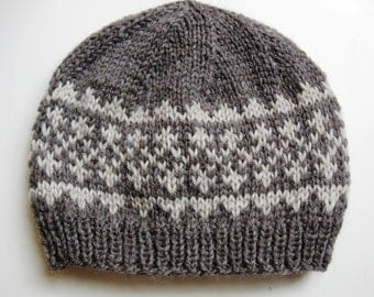 PDF knitting pattern for hat, Simple Fair Isle Pattern Hat #1, two-tone simple pattern hat, knit winter hat pattern, quick project