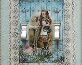 5 CHOICES- Double Alice Switchplates w/ MATCHING SCREWS- Alice Double switch plate covers Alice light switch covers Alice wall decorations