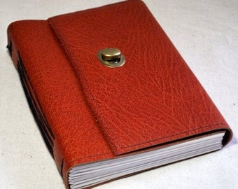 Medium Textured Orange Leather Journal with Recycled Paper