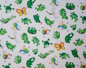 FROG and FRIENDS Dragonfly Butterfly on White Girlie Girl Cheri Strole Moda by the yard Fun Fabric for Creative Genius Projects