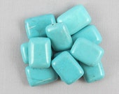 Blue Magnesite 18mm x 13mm Flat Rectangle Beads - 11 pieces #C5-6