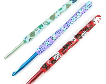Polymer Clay Crochet Hook Boye Aluminum Option: Size F or I Craft Tools Fiber Art Tools Yarn Hook Ergonomic