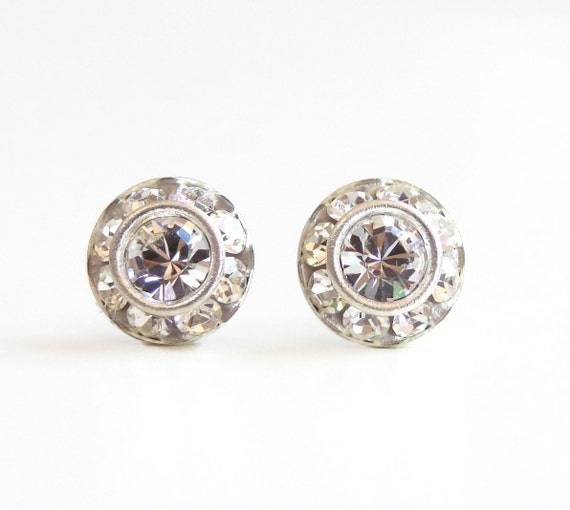 Crystal clear halo stud earrings - bridal jewelry - bridesmaid jewelry - designed with Vintage Swarovski® Crystal