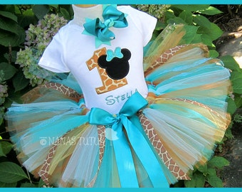 Safari  Minnie with Number, Teal  Giraffe, Sillohuette, Party Outfit, Theme Parties, Disney Vacations  in Sizes 1yr -5yrs
