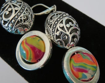 Long Dangle Earrings. LALIA. Rainbow Palette Handmade Polymer Clay beads by Anita with Silver Metal Filigree Beads