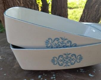 2 franciscan medalion blue rectangle vegtable bowls