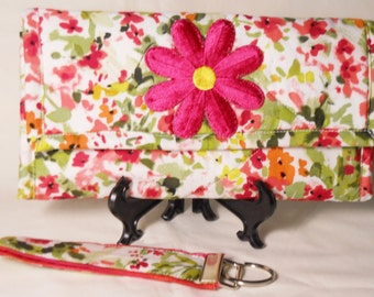 Impressionist Floral Wallet / Matching Key Fob / Quilted Wallet / Trifold Wallet / Womens Wallet / Clutch