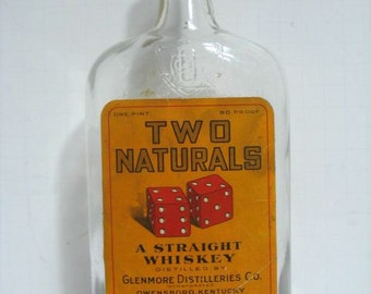 Vintage Two Naturals Whiskey Bottle Dice Logo Gambling Antique Bottle 1930s