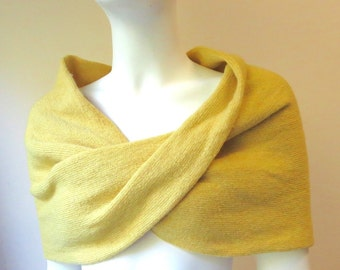 Yellow 100% Cashmere Knit Infinity Scarf/ Shoulder Warmer / Wrap / Mobius Scarf