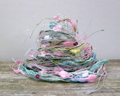 hello pretty fiber effects™  art yarn bundle 12yds specialty embellishments ribbons  . white pink aqua yellow metallic sparkle sequins