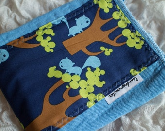 Baby burp cloth - tree squirrels light blue hand dyed burp cloth
