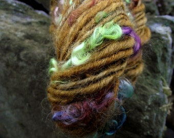 Handspun yarn, handpainted Shetland wool and locks of kid mohair, thick and thin worsted weight yarn-Fred and George