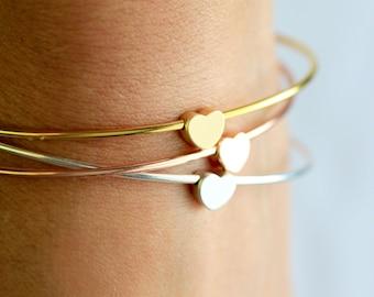 Heart Bangle Bracelet - Stacking Heart Bracelet Silver Gold Rose Gold Bridesmaid Gift Silver Heart Charm Love Bracelet Wedding Minimal