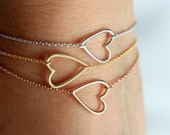 Open Heart Bracelet - Gold Silver Rose Gold  Bridesmaid Gift Heart Charm Wedding Bridal Gift Valentines Bracelet Love Heart Jewelry