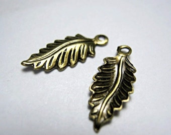 Leaf Pendant Oxidized Brass 16mm with a Loop.   Pkg of 2  (R548)