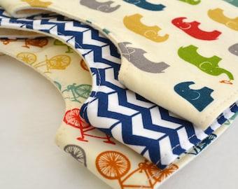 Set of 3 Organic Baby Bibs . Organic Elephant, Navy Herringbone & Bicycle . Baby Shower Gift Set