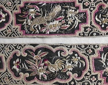 Art Deco Ecru ROOSTER & PEACOCK Embroidered Trim Black Crepe, Detailed Scrolls Mushrooms Butterflies, Saris Clothing Hats 1930s Boho Chic 16