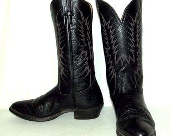 Vintage Black Western Rockabilly Cowboy Boots Mens size 10 D / womens 11.5