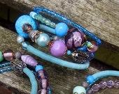 Beaded multi Row Bracelet, Boho Memory Wire Bracelet, Vintage Glass Bead Bracelet, Featured in Jewelry Affaire Magazine Summer 2015