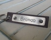 I Married Him For His Bronco Custom Hand Stamped Leather Luggage Tag or Key Chain Your Custom Message by MyBella