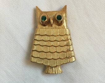 Vintage Avon Owl Brooch Pin With Refillable Glacee Pot