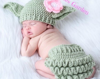 Baby Yoda Hat & Diaper Cover SET Star Wars Hat Newborn 0 3m 6m Girls Crochet Baby Clothes POPULAR Worldwide Perfect Gift Daddies Love This