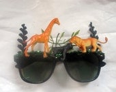 Jungle Safari Giraffe, Monkey, Lion  Fantasy Decorated Black Sunglasses